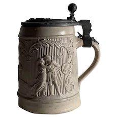 Antique German Stoneware and Pewter Stein, Circa 1880, Regensburg