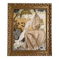 Classical Grecian Style Vintage Painting Collage, Framed.