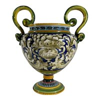 Vintage Italian Majolica Two-Handled Urn