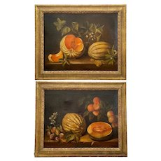 Pair 19th C. Large Spanish Paintings, Still Life with Melon After Spadino.