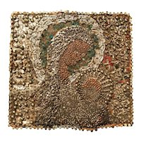 Midcentury Religious Folk Art Assemblage Portrait of Virgin Mary and Child
