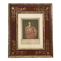18th Century Watercolor Portrait of Sir John Mennes after Anthony van Dyck