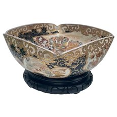 Japanese Meiji Period Satsuma Large Square Bowl