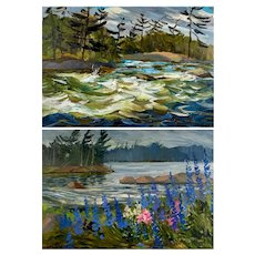 Pair of Mid-Century Canadian Signed Landscape Paintings.