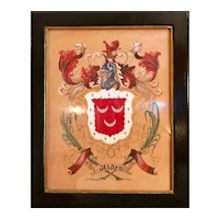 19th Century Alden Scottish Coat of Arms Watercolor and Guache on Paper Heraldry