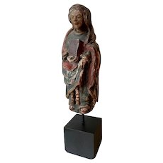 12th Century Extremely Rare Romanesque Wood Sculpture of the Virgin Mary.