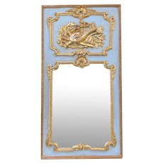 19th Century French Louis XV Stucco Carved and Gilded Trumeau Mirror.