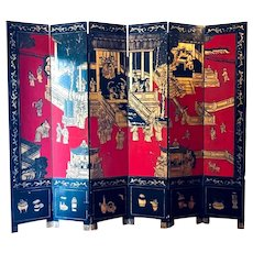 Antique Chinese Export Coromandel Lacquer and Gilt Six fold Screen.