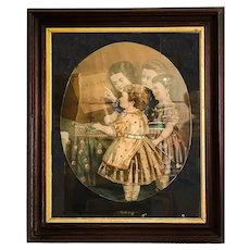 19th Century Victorian Hand Colored Lithograph in Original Frame. Large and Rare Folio