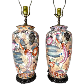 Vintage Pair Chinese Hand Painted Porcelain and Gilt Decorated Pheonix Motif Lamps.