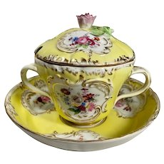 19th Century German Meissen Style Hand Painted Porcelain Lidded Compote.