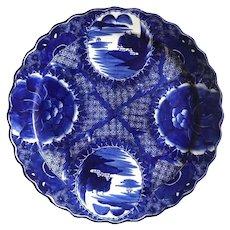 18th Century Imari Blue and White Round Scalloped Japanese Oversized Platter
