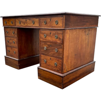 Antique 19th Century English Regency Mahogany Pedestal Desk