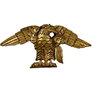 19th Century American Hand Carved Gilded Pediment Eagle.