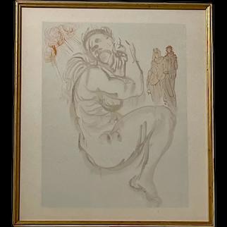 """Salvador Dali Divine Comedy, """"Purgatory 19"""" Woodcut Print"""