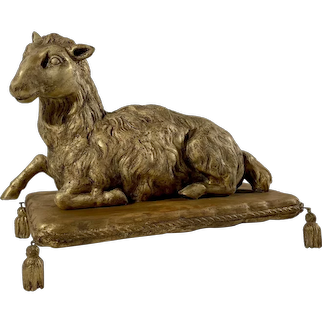 Antique Wood Carved Agnus Dei Paschal Lamb on Stand.
