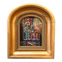 Gouache Sketch Religious Stained Glass Window Design, Giltwood Framed