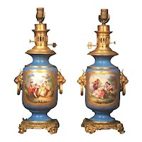 Pair Louis XVI Style French Sevres Blue Porcelain Ormolu Mounted Lamps