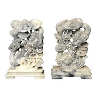 Vintage Chinese Pair Bookends, Hand Carved Soapstone Dragon Design