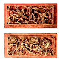 Pair of Chinese Qing Dynasty Openwork Wall Hanging Giltwood Carvings