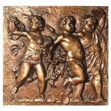 Heavy French Bronze Relief Plaque of 3 Dancing Putti with Tambourines
