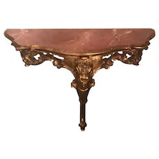 Vintage Louis XVI Style Console Table, Petit with Faux Marble Top