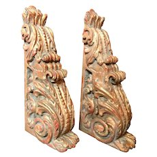 18th Century Pair of Large Giltwood Baroque Spanish Corbels