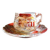 Antique Nippon Satsuma Hand Painted Porcelain Tea Cup and Saucer Raised Gilding.