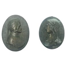 Two Miniature Antique Lead Relief Oval Portrait Plaques of Dante and Beatrice, Circa 1900