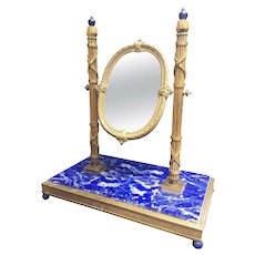 19th Century, French Bronze Doré Solid Lapis Lazuli Dressing Table Mirror