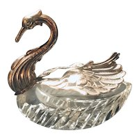 Master Salt Cellar Sterling Silver and Brilliant Cut Crystal Swan