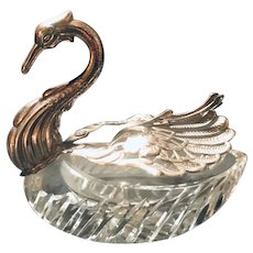 Master Salt Cellar Sterling Silver and Brilliant Cut Crystal Swan