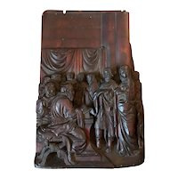 17th Century Early Baroque Flemish Wood Carved Religious Figural Group
