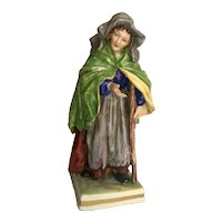 19th Century Capodimonte Figurine Beggar Woman with Crutch, Naples Porcelain Collectible