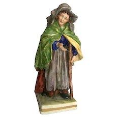 19th Century Capodimonte Figurine Beggar Woman with Crutch, Naples Porcelain Collectible