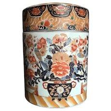 Antique Large Chinese Export Porcelain Cylindrical Lidded Ginger Jar