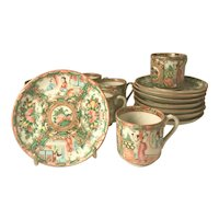 8 Sets Chinese Export Rose Medallion Demitasse Cup and Saucer, 19th Century