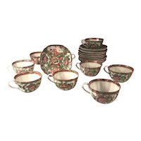 9 Set Antique 1850's Chinese Rose Medallion Square Eggshell Porcelain Tea Cup and Saucer.