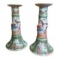 Rare 19th Century Pair Rose Medallion Pattern Porcelain Candlesticks