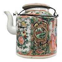 19th Century Chinese Rose Medallion Porcelain Teapot
