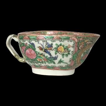 Antique Chinese Rose Medallion Porcelain Gravy Sauce Boat.