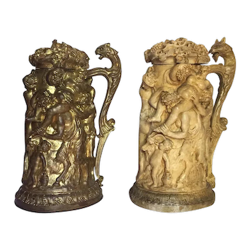 19th Century Bronze Tankard With Original Plaster Maquette Signed Clodion, France