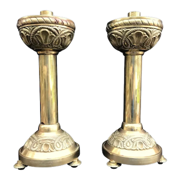 19th Century English Gothic Ecclesiastical Brass Candlesticks