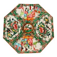 19th Century Rose Medallion Porcelain Octagonal Footed Dish.