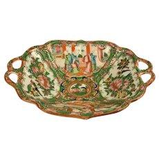 19th Century Chinese Export Rose Medallion Pierced Handle Dish