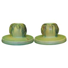 Roseville Moss 1109 Candle Holders  with Labels