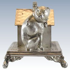 Silverplate Bull Dog Figural Napkin Ring Simpson Hall Miller