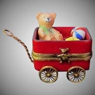 Limoges Christmas Wagon Trinket Box