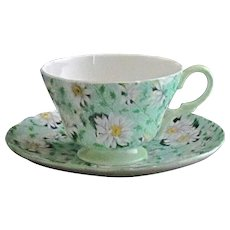 Shelley Green Daisy Cup and Saucer