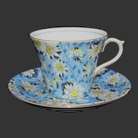Shelley Blue Daisy cup and saucer #13203